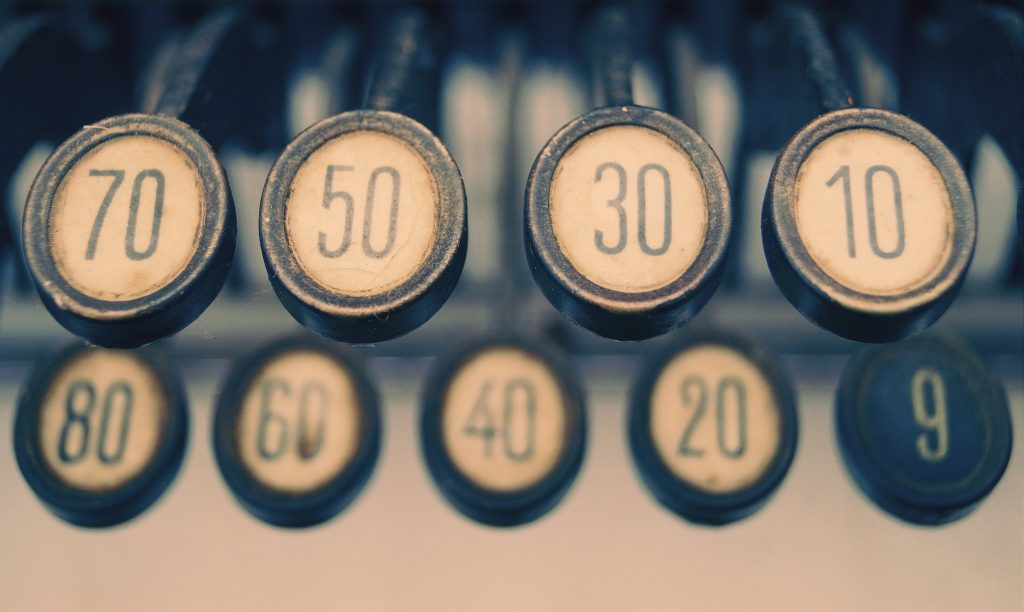 Numbers on an old cash register
