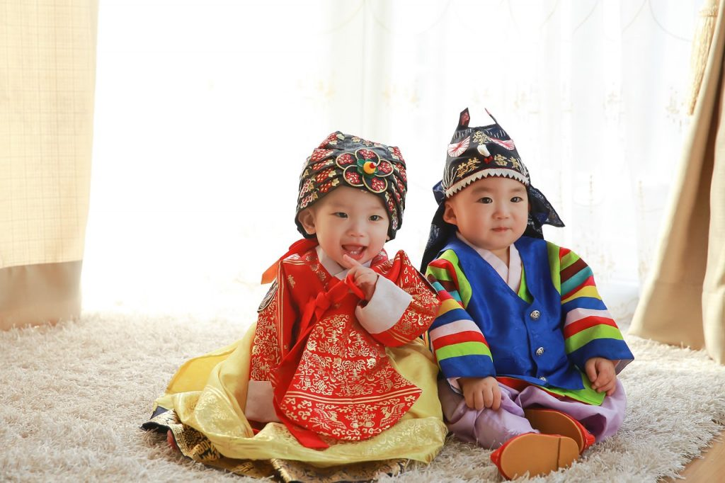 Korean babies with traditional outfit